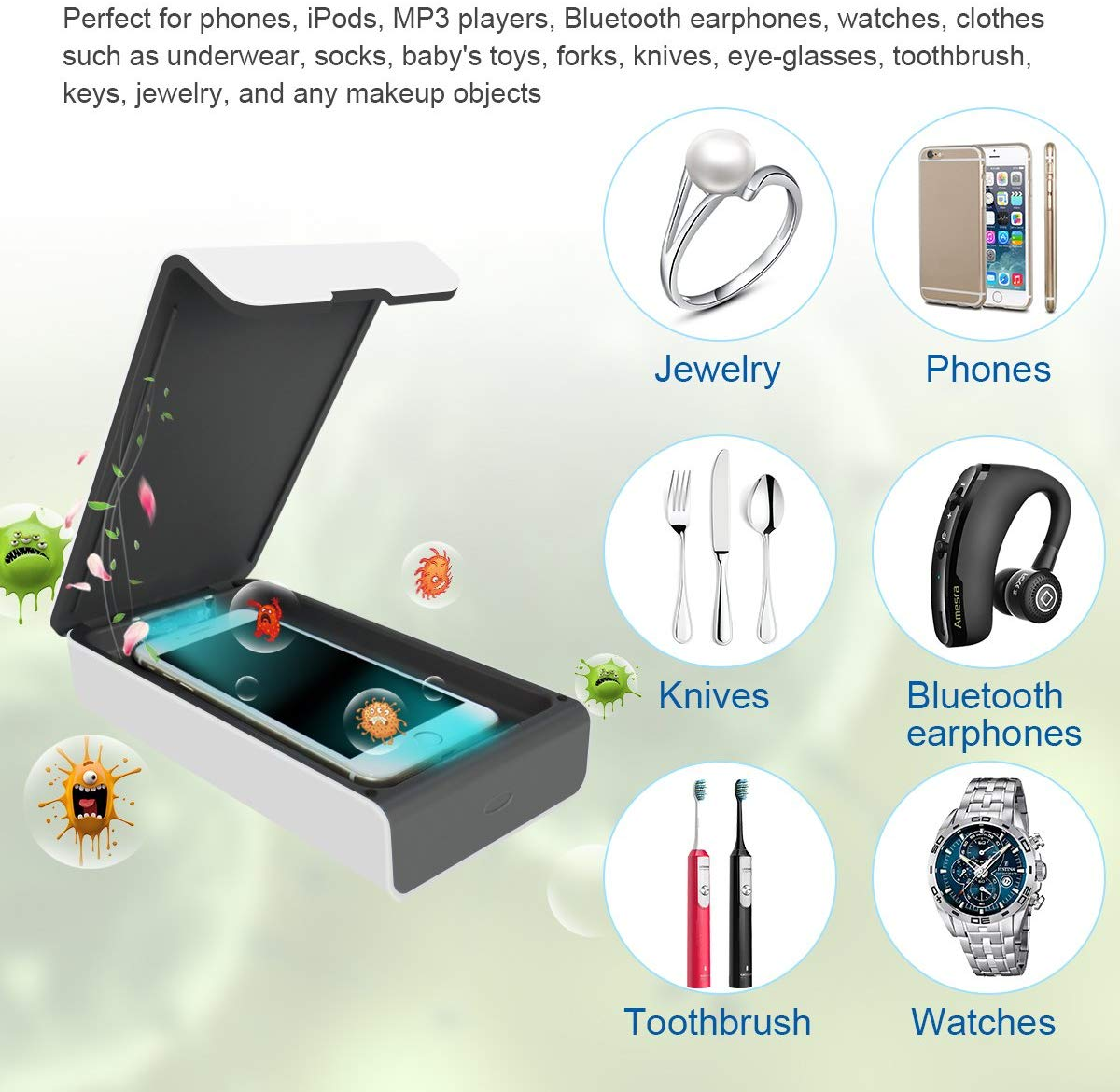 UVGI 紫外燈 智能手機消毒器 型格纖薄款